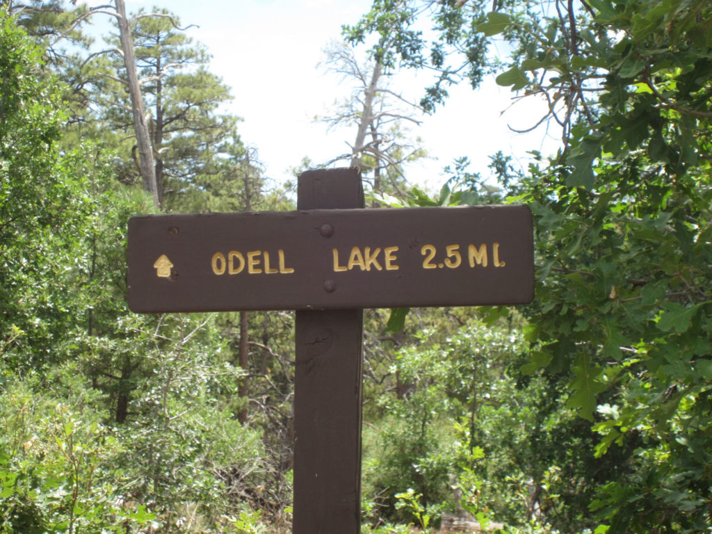 Trail Marker for Lake Odell from Crystal Point Picnic Area