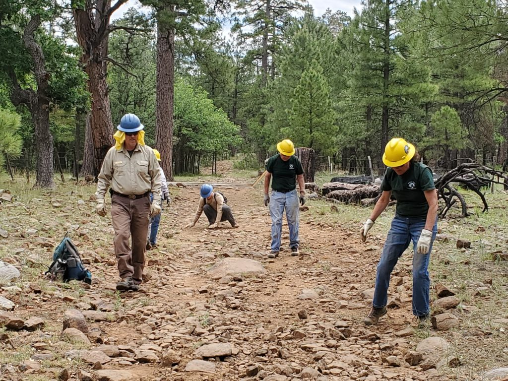 MUTS Crew works to remove large loose rocks from Rocky Road Trail - July 6, 2019