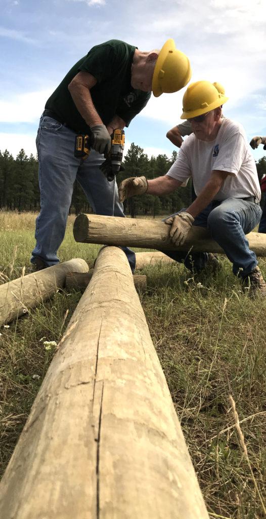 Installing a log fence